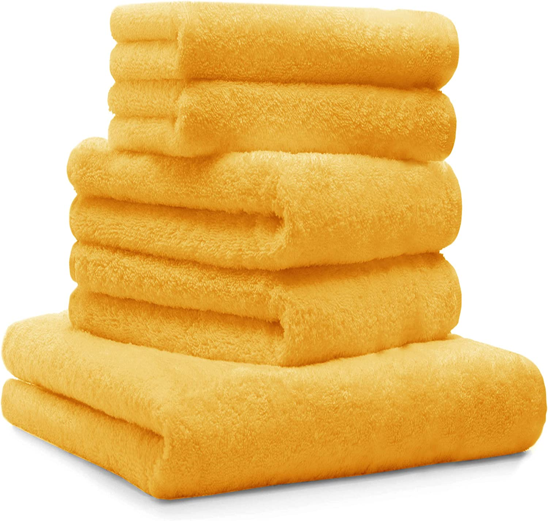 fabricado en Italia 100/% algod/ón amarillo, 2 Juego de toallas de ba/ño de rizo Giovanni Dolcinotti Bath Collection