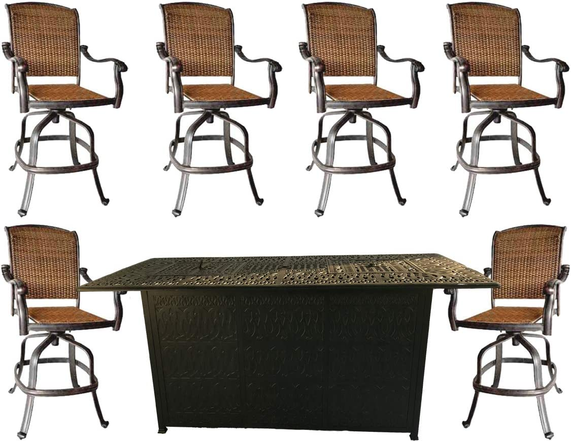 7 Piece Fire Pit Patio Dining Outdoor Bar Set Santa Clara Swivels Barstools Propane Table Cast Aluminum Wicker Furniture