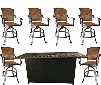 Brilliant 7 Piece Fire Pit Patio Dining Outdoor Bar Set Santa Clara Swivels Barstools Propane Table Cast Aluminum Wicker Furniture Machost Co Dining Chair Design Ideas Machostcouk