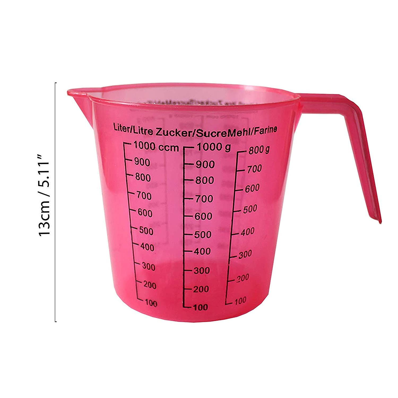 Rosa u Lila R/ührbecher Set mit Gramm u Gr/üne Transparente 13 cm BPA-freie Stapelbare Kunststoff Messbecher 4-tlg Kubikzentimeter Skala Meskanen mit Henkel von Kurtzy