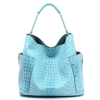 274874ea94 Amazon.com: Le Miel Ostrich Embossed Side Pocket Tote w/Inner Bag  Crossbody- Blue: Clothing