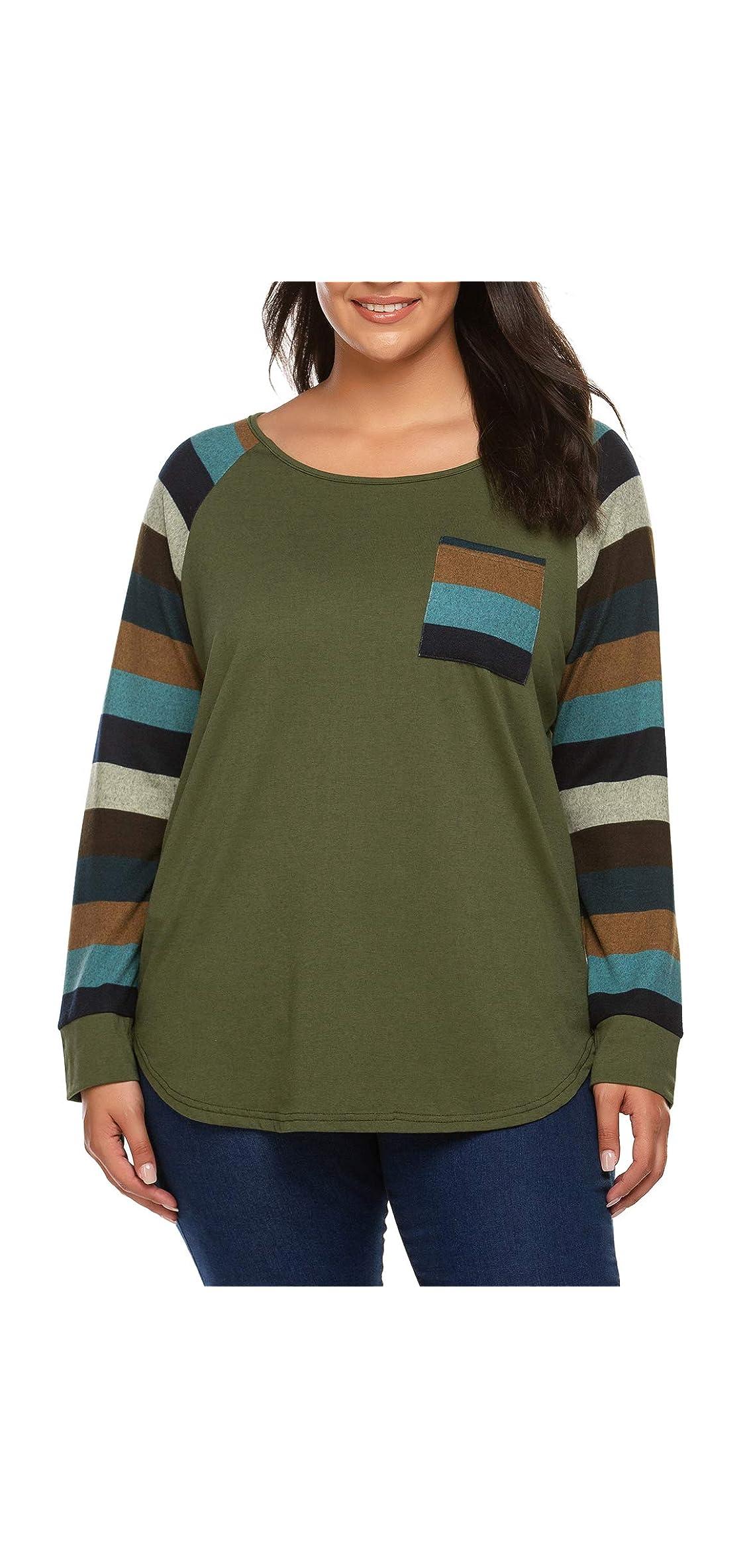 Women Plus Size Shirt Stripes Crew Neck Tee Long Tunic