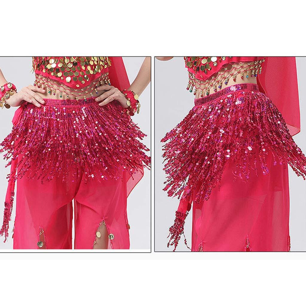 Sequins Tassels Skirt for Summer Beach Outfit or Dancewear F Fityle Women Belly Dance Skirt Chain Multicolor Waist Chain