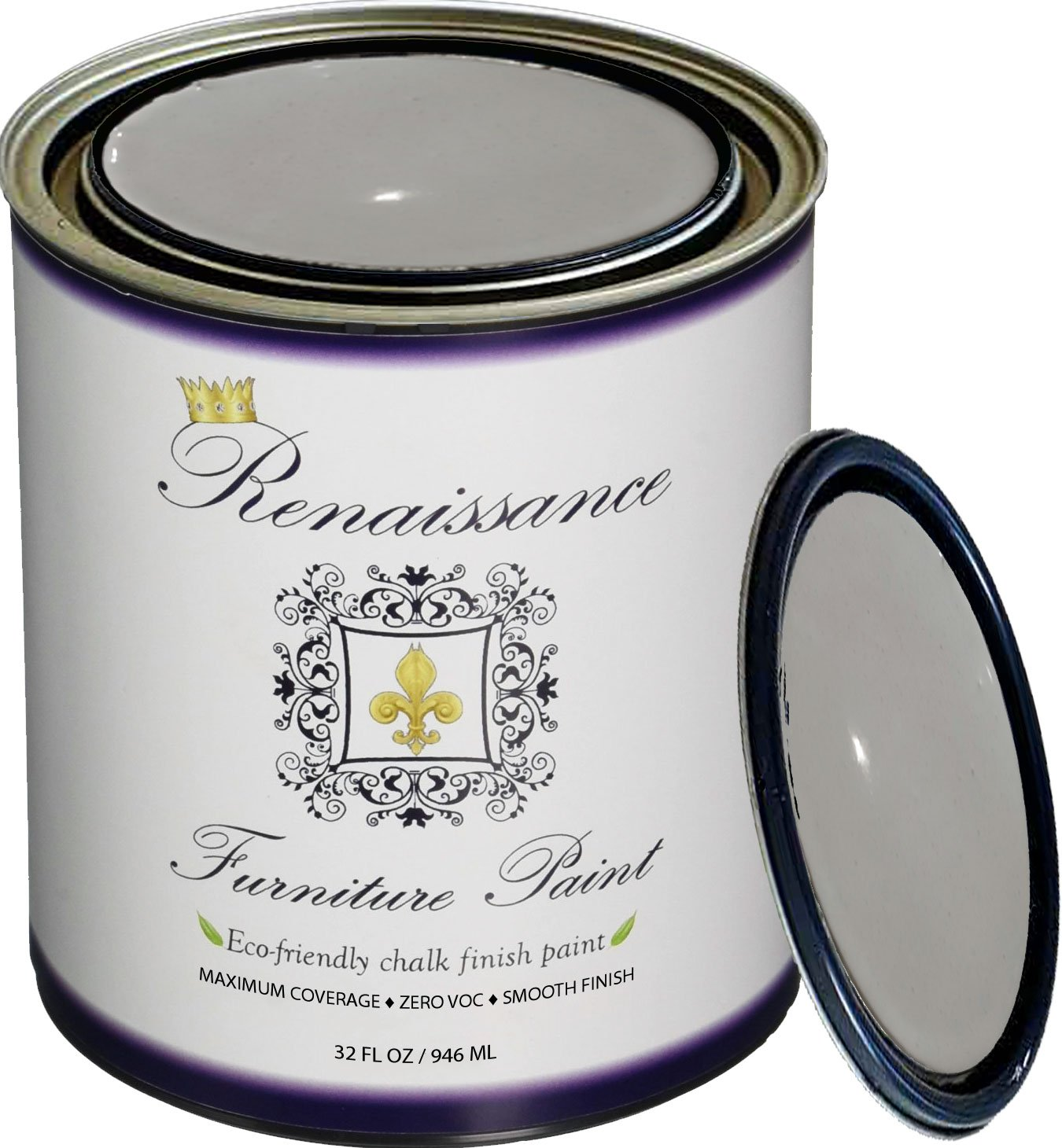 Retique It Chalk Finish Paint by Renaissance - Non Toxic, Eco-Friendly Chalk Furniture & Cabinet Paint - 32 oz (Quart), Dove Gray