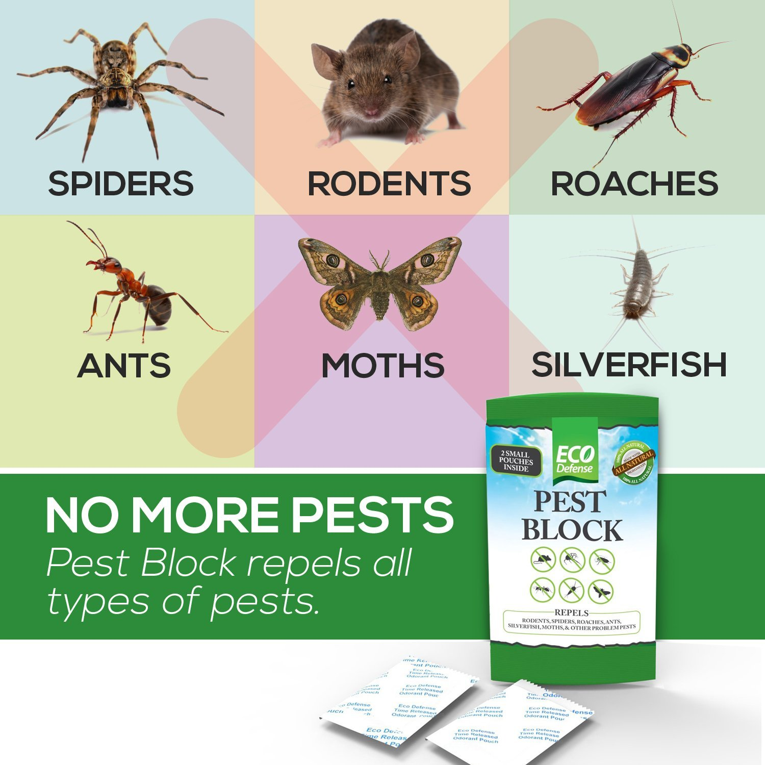 Eco Defense Pest Control Pouches - All Natural - Repels Rodents, Spiders, Roaches, Ants, Moths & Other Pests - 12 Pack - Best Mouse Trap Alternative by Eco Defense (Image #4)