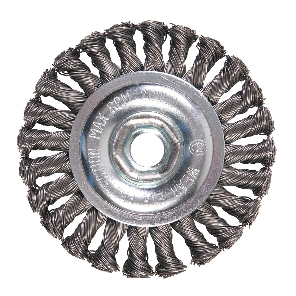 Mercer Industries 186510B Knot Wire Wheel, 4'' x 1/2'' x 5/8''-11, For Angle Grinders