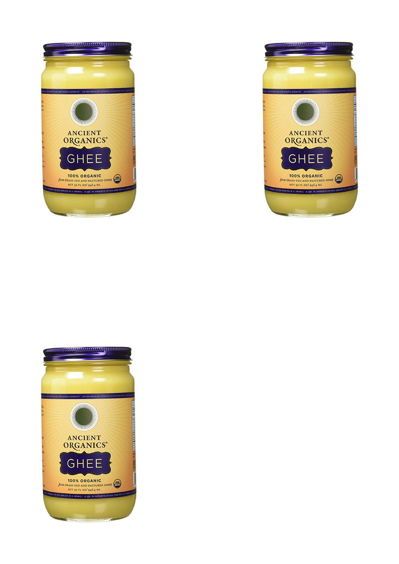 ANCIENT ORGANICS 100% Organic Ghee from Grass-fed Cows, 32oz (3 pack)