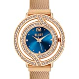 BLCOT Woman`s Crystal Accented Magnetic Buckle Mesh Belt Rose Gold Quartz Bracelet Watch