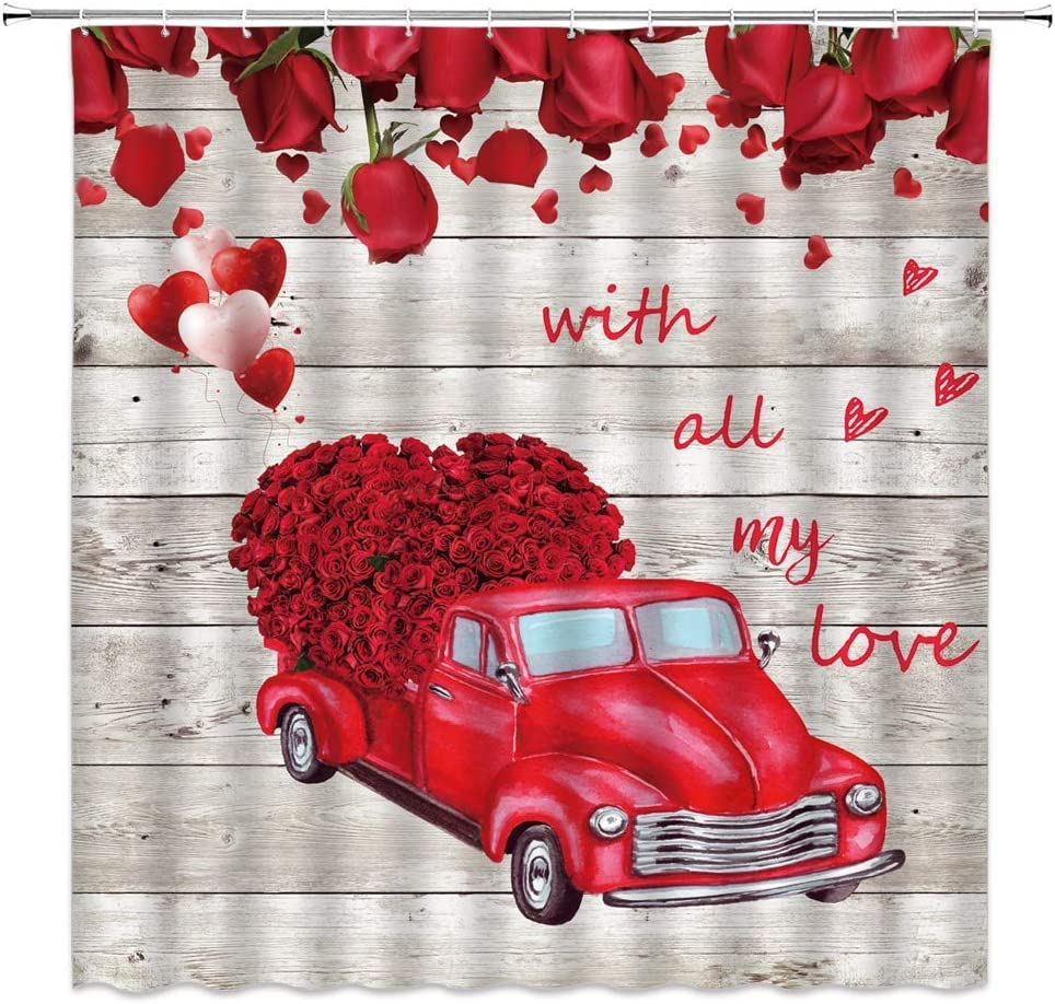 Valentine's Day Shower Curtain Red Rose Rustic Truck Car Flower Love Heart Balloon Retro Wooden Board Vintage Romantic Festival Bathroom Curtains Decor Polyester Fabric Quick Drying Include Hooks