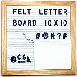 Felt Letter Board - Includes # @ Symbols - Felt Letter Board White Felt 10 x 10 Inch Oak Frame - Changeable Letter Board w/ 290 Black Letters - Letter Board