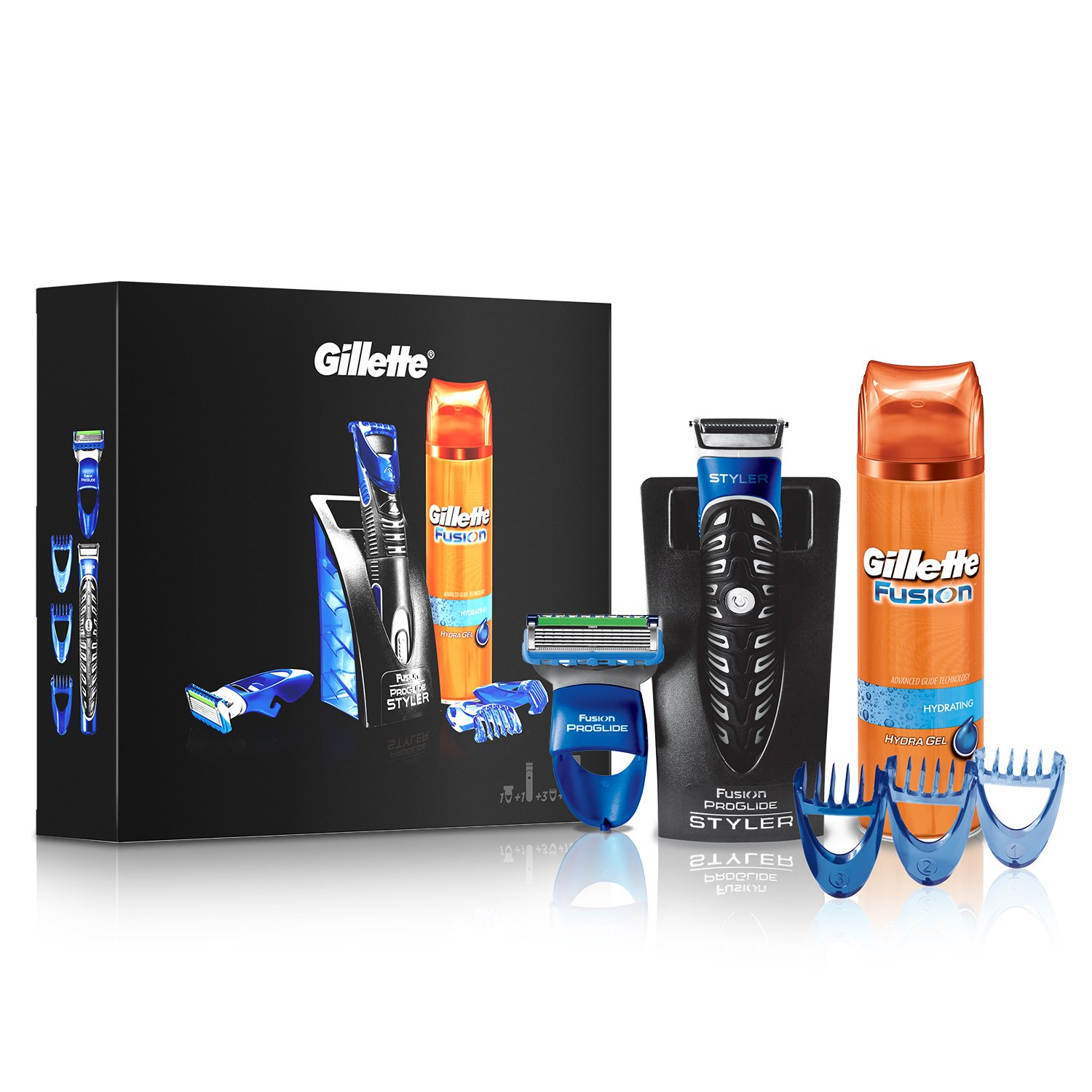 Gillette Fusion All Purpose Men's Styler Gift Set, Fusion Hydrating Men's Shaving Gel + 3 Combs Procter & Gamble 81650716