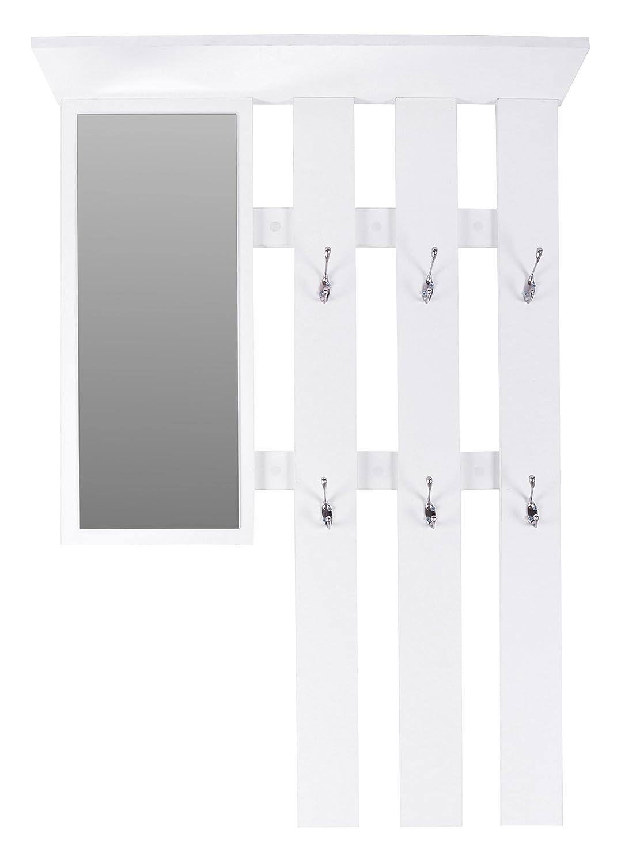 ts-ideen Guardaroba da Parete Specchio Scarpiera con cassetti Legno Bianco