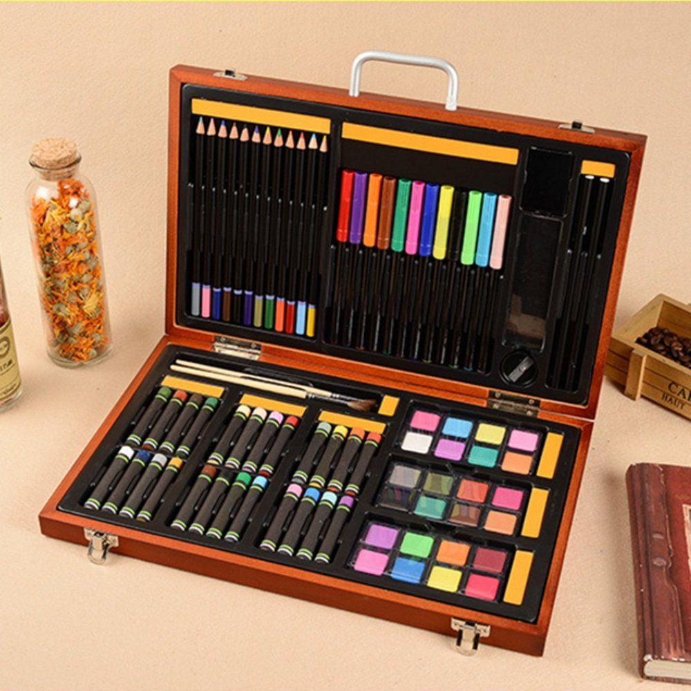 JIANGXIUQIN Artist Art Drawing Set, Art Craft Storage 76 Pieces - Luxury Super Wooden Box Art, Painting and Drawing Set, Sketch, Coloring, Children's Rich Imagination Gifts for Children and Children. by JIANGXIUQIN (Image #2)