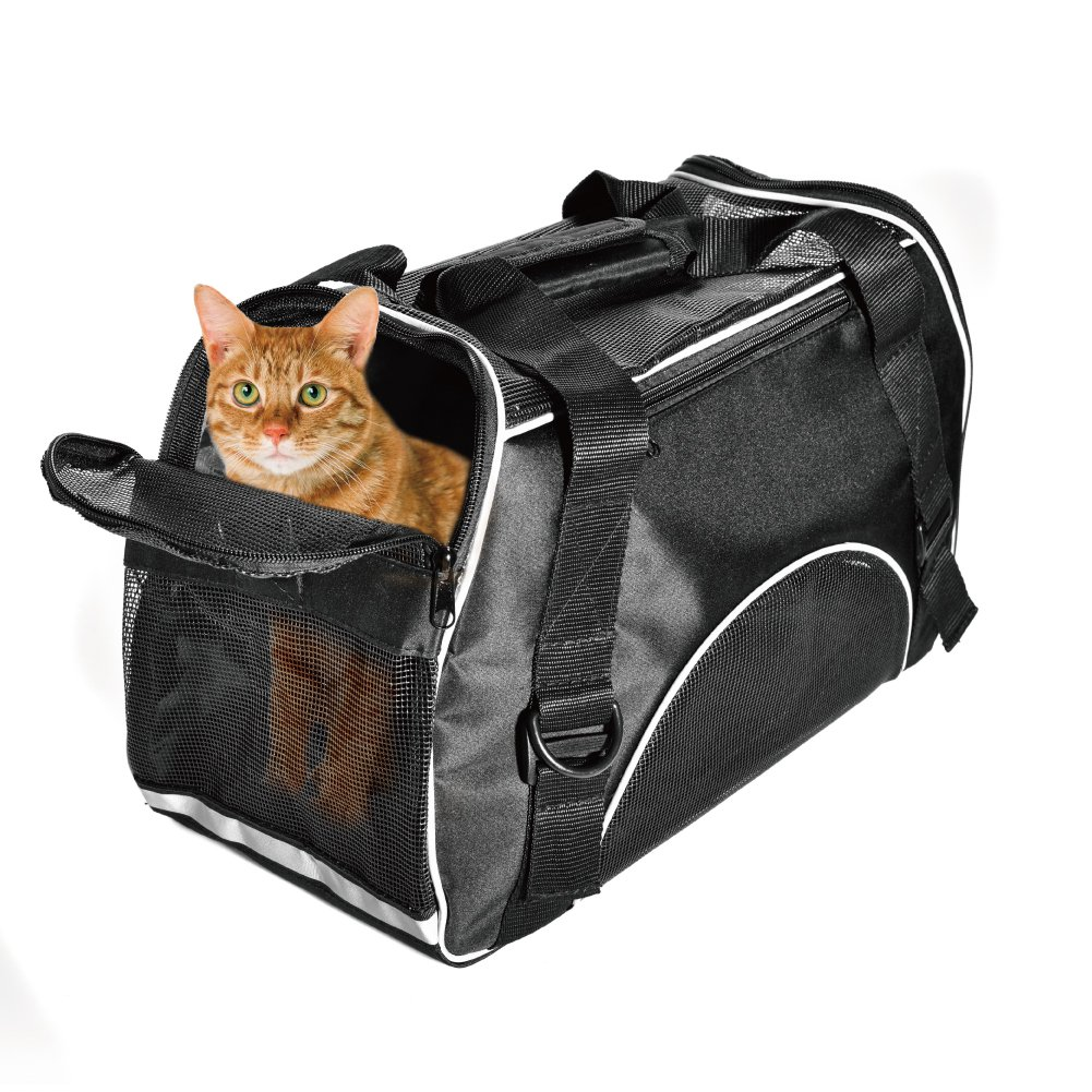 Huanxu Pet Carrier Dog Cat Soft Sided Airline Approved Small Puppy Travel Bag (Black)