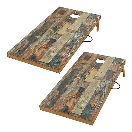 TIANNBU Solid Wood Cornhole Set Portable Bean Bags Toss Game Regulation  Size 2 X 4 Feet