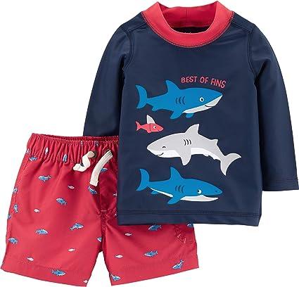 NEW Carter/'s Baby Toddler Boys 2 Piece Rash Guard Swim Top Shorts Trunks 9 18 mo