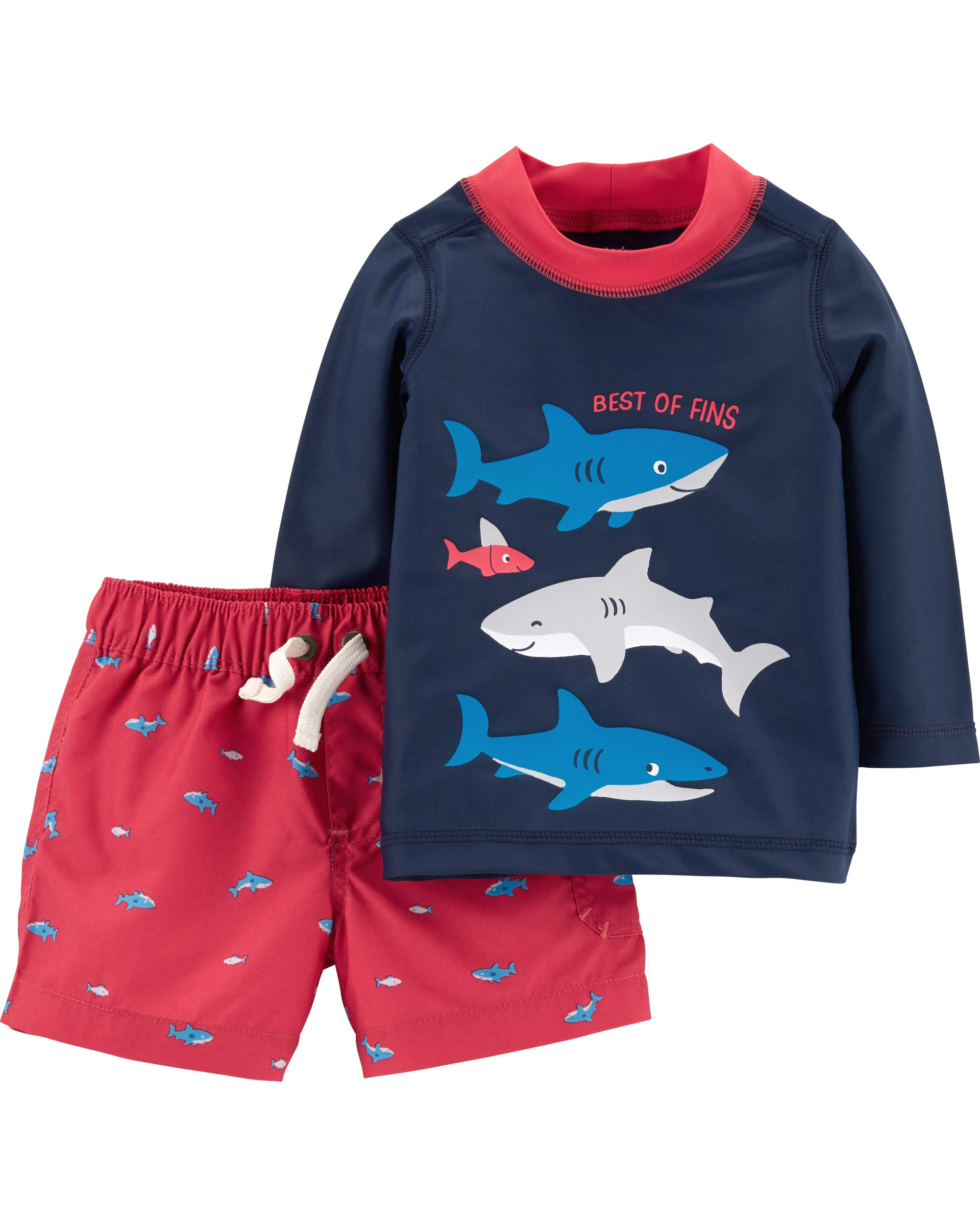 Carter's Baby Boys Rashguard Swim Set, Shark, 18