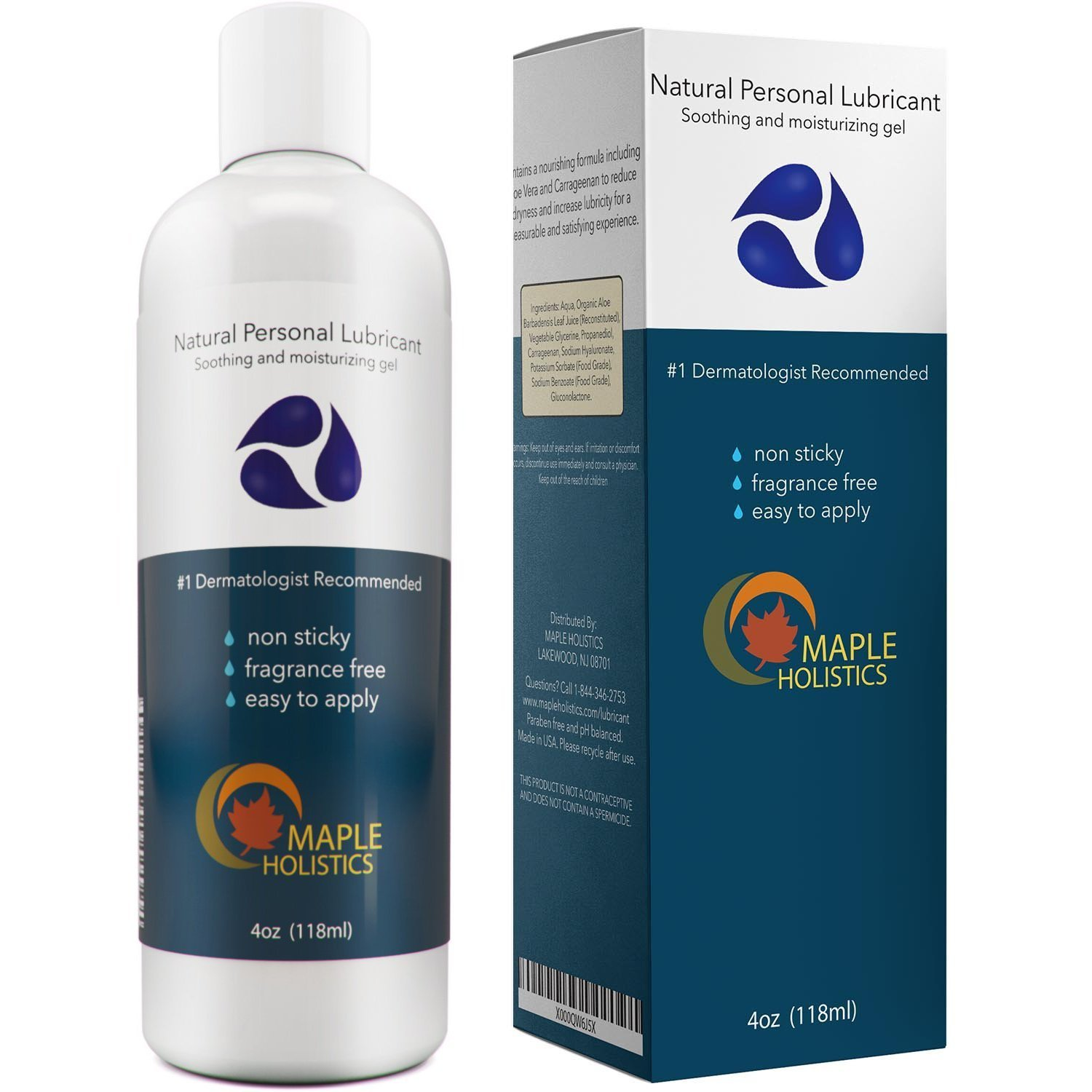 Natural Personal Lubricant for Sensitive Skin - Women and Men - Water Based Lube with Aloe Vera and Carrageenan - Paraben-free with Squeeze Tube Technology - 4oz - 100% Guaranteed By Maple Holistics