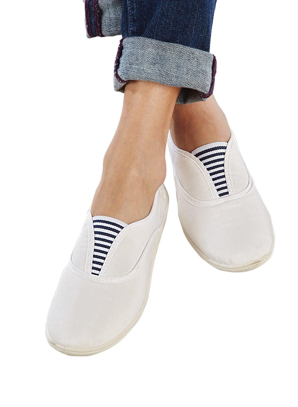 Carefree Canvas Slip-Ons, White, Size 6-1/2 (Medium)