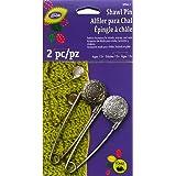 Dritz Metal Engraved Vintage Flower Shawl Pin, Pewter and Nickel