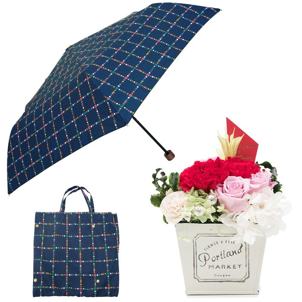 母の日ギフト プリザーブドフラワーと折り畳み傘のギフトセット B07CJ7FG2W お花:赤/Mサイズ|キャンディチェック キャンディチェック お花:赤/Mサイズ