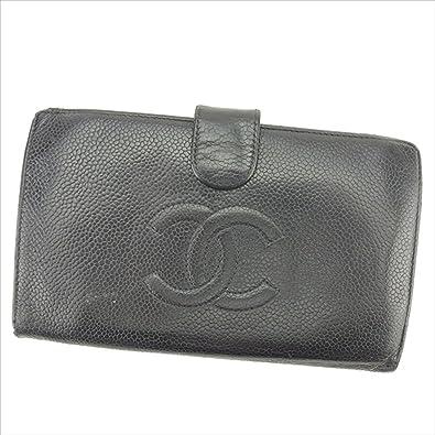 b0122496980d (シャネル) Chanel がま口財布 長財布 ブラック キャビアスキン レディース 中古 T1601