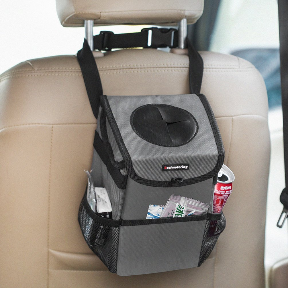 HLM自動ごみ箱コンテナwithカバー、カバー、防水車GarbageバッグLeakproof車Litterバッグwithストラップandサイドポケット グレー SW-HOMEX1 B07CZXV7XX グレー