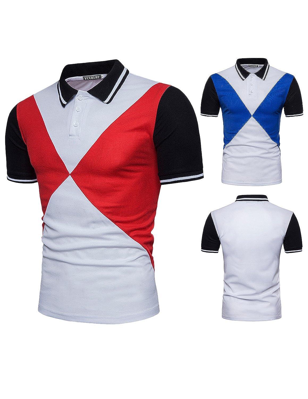 YCUEUST Moda Polo Camisetas para Hombre Manga Cortas Geometría ...