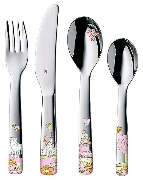 WMF Princesa Anneli - Cubertería para niños 4 piezas (tenedor, cuchillo de mesa,