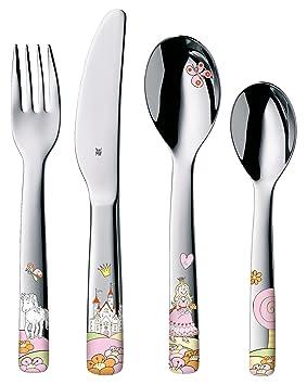 WMF Princesa Anneli - Cubertería para niños 4 piezas (tenedor, cuchillo de mesa, cuchara y cuchara pequeña) (WMF Kids infantil): Amazon.es: Hogar