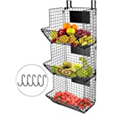 KELIVOL 3-Tier Metal Wall-Mounted Wire Baskets with Hanging Hook and Chalkboards, to Put Fruits, Vegetables, Snacks or…