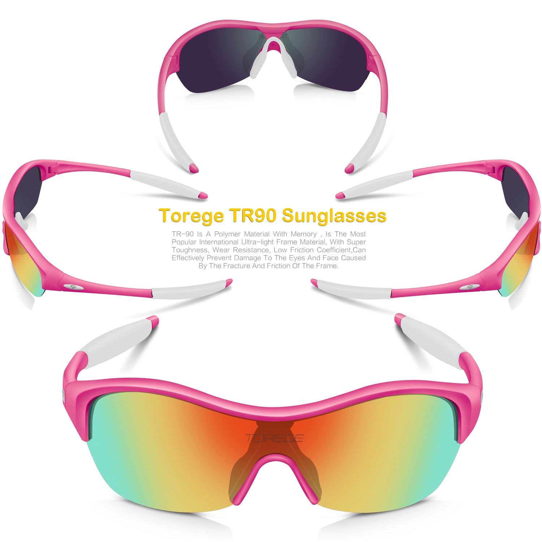 140f04e8ddbb Amazon.com   Torege Tr90 Flexible Kids Sports Sunglasses Polarized Glasses  for Junior Boys Girls Age 3-15 Trk001 (Pink White)   Sports   Outdoors