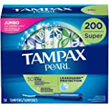 Tampax Pearl Tampons with Plastic Applicator, Super Absorbency, Unscented, 50 Count (Pack of 4) (200 Count Total) ( packaging may vary)