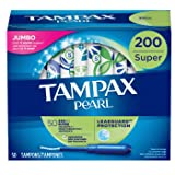 Tampax Pearl Tampons with Plastic Applicator, Super Absorbency, 200 Count, Unscented