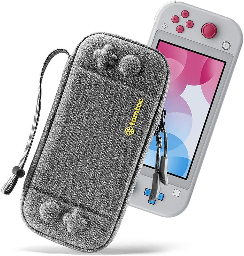 tomtoc Funda Delgada para Nintendo Switch Lite, Patente Original Estuche Rígido con cartuchos para 8 Tarjetas de Juegos, Funda Dura Transporte con Proteción de Nivel Militar, Gris: Amazon.es: Videojuegos
