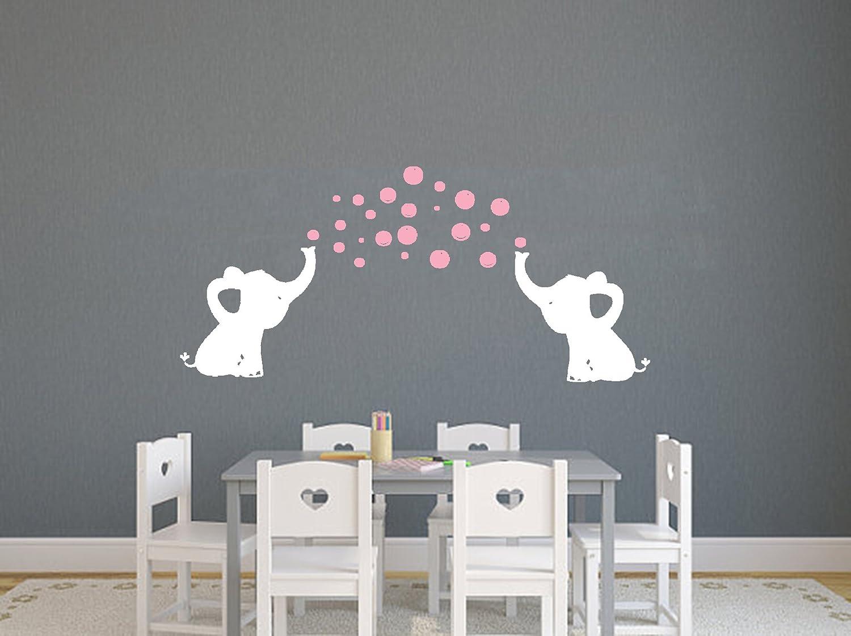 LHKSER Cute Family Elephant Spit Bubbles Wall Decals Nursery Decor Kids Wall Sticks. Gray