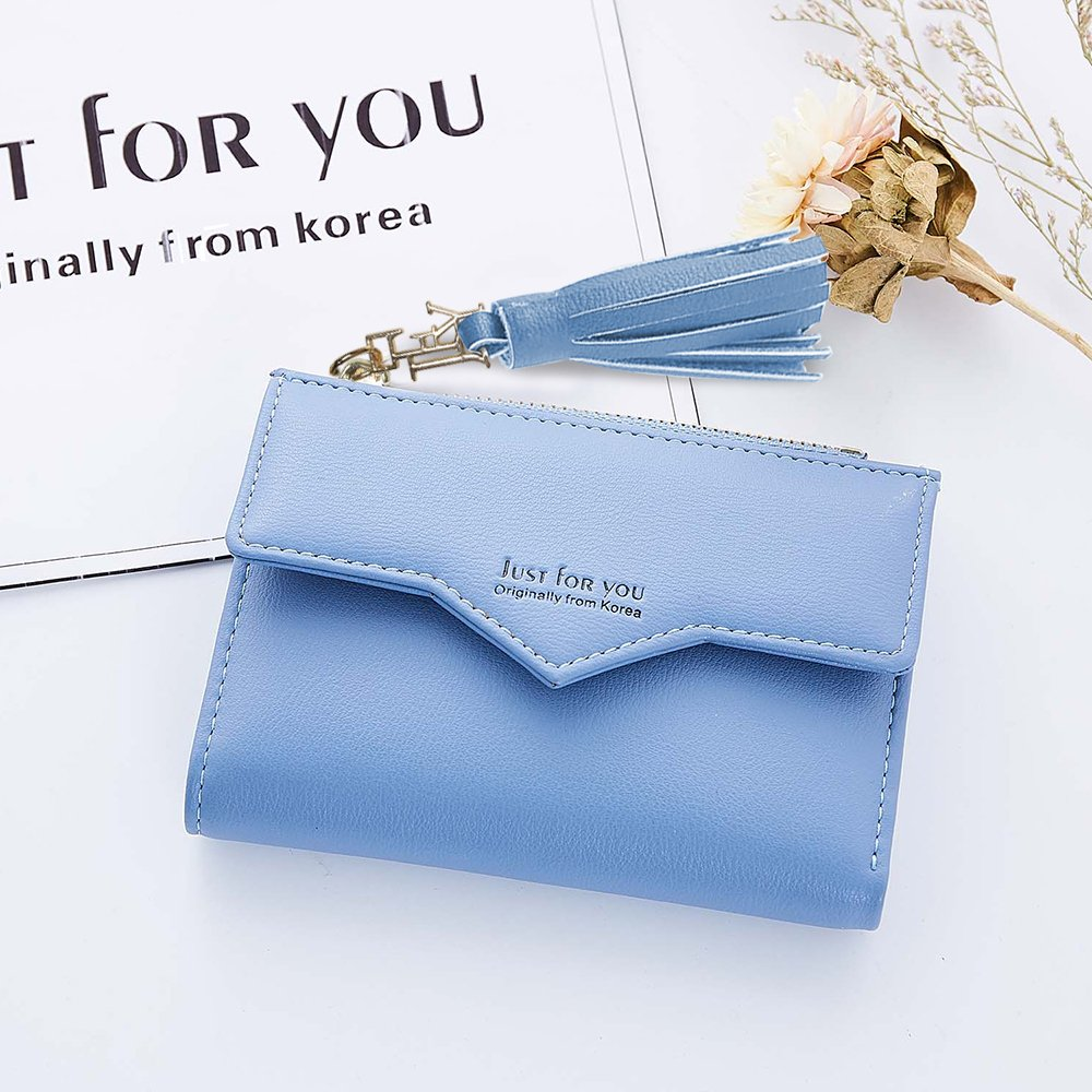 Slim Wallet Womens Mini Purse Credit Card Case Houlder Compact Bifold Pouch Coin Zipper Pocket Small Clutch Tassel Blue