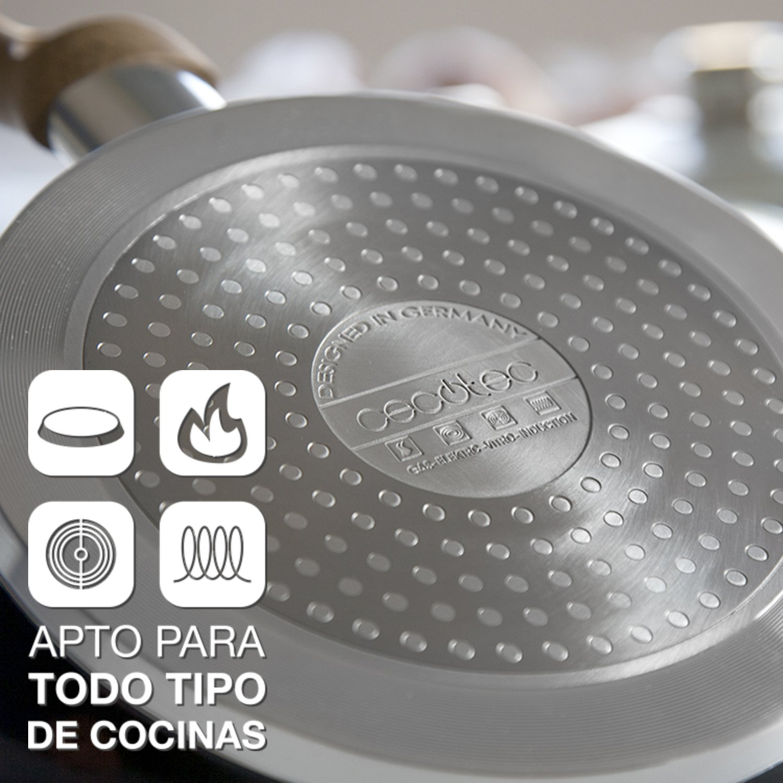 Juego de sartenes de aluminio forjado y revestimiento Ceramium con titanio. 3 sartenes de diámetro 20cm, 23cm y 26cm. Aptas para inducción. Tapas ...