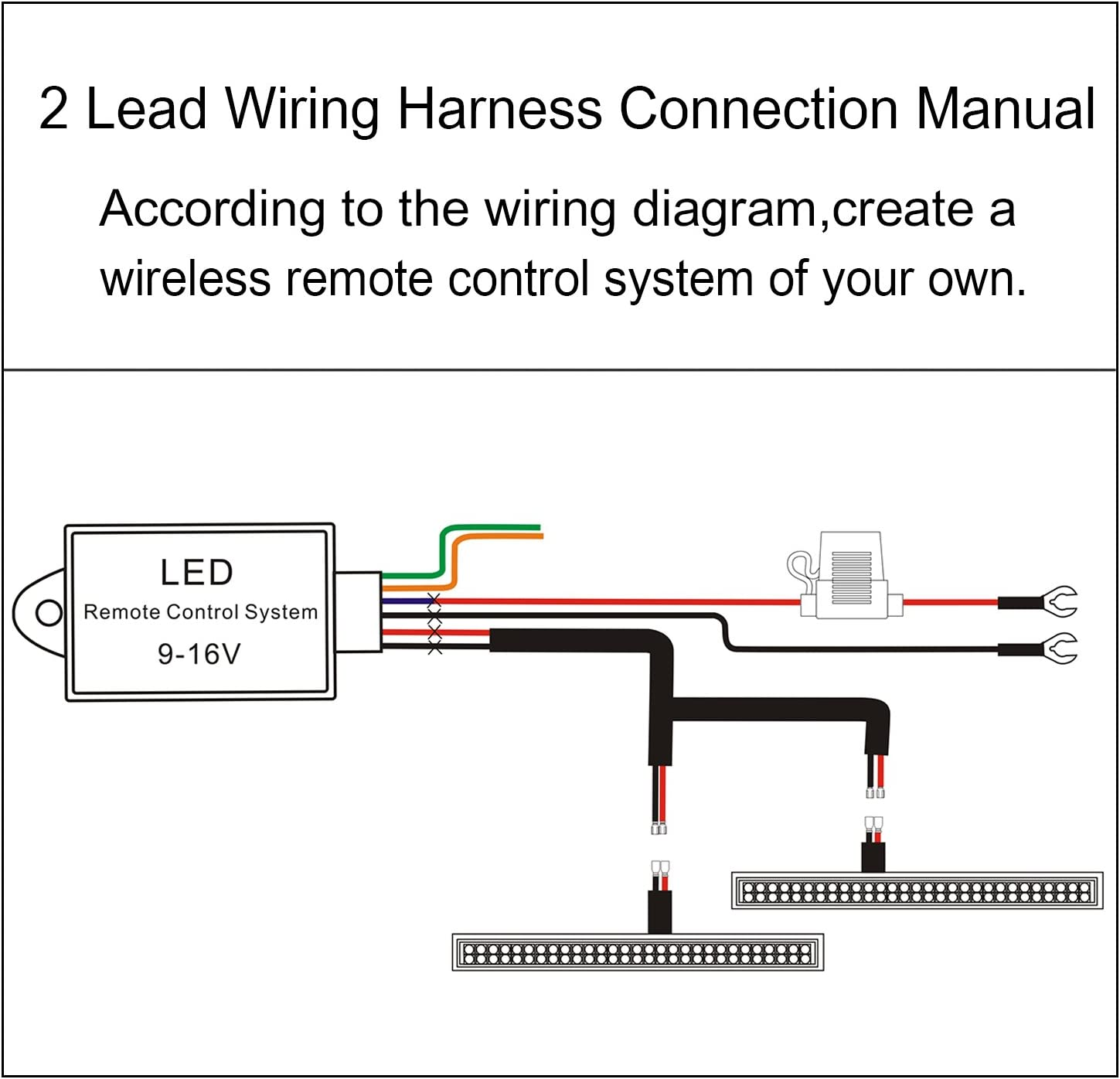 Led Light Bar Remote Control Wire Harness Wireless Remote Control Wire Harness For Led Light Bar Driving Light Fog Light Pod Light Work Light 16 Gauge Be Useful For 12v And 24v Jihe 5559042152