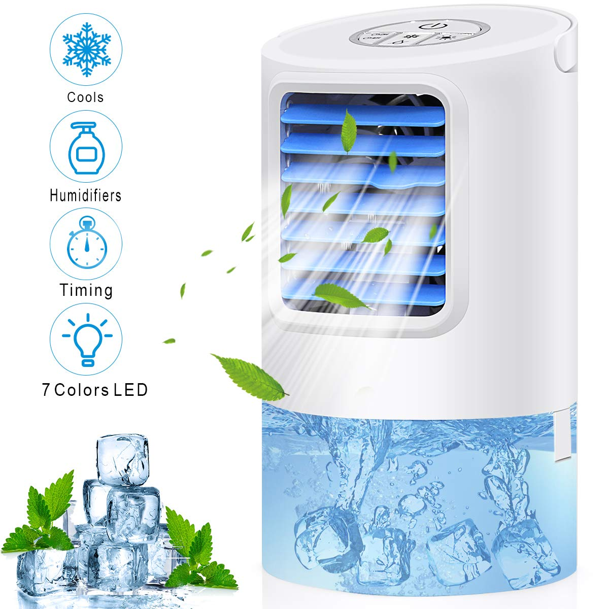 Portable Air Conditioner Fan,Personal Desk Fan Space Air Cooler Mini Table Evaporative AC Ultra-Quiet Purifier Cooling Fan with Handle and 7 Colors LED Lights for Home, Office, Dorm