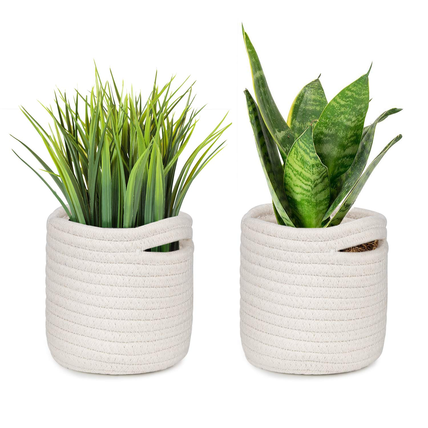 HOMENOTE 4.7 Elegant Basic Succulent Pots Cover of 2 Set for Small Plants Cream White Woven Plant Basket for 3 to 4 Small Succulent Planters Cotton Rope Storage Organizer Basket for Table or Desk