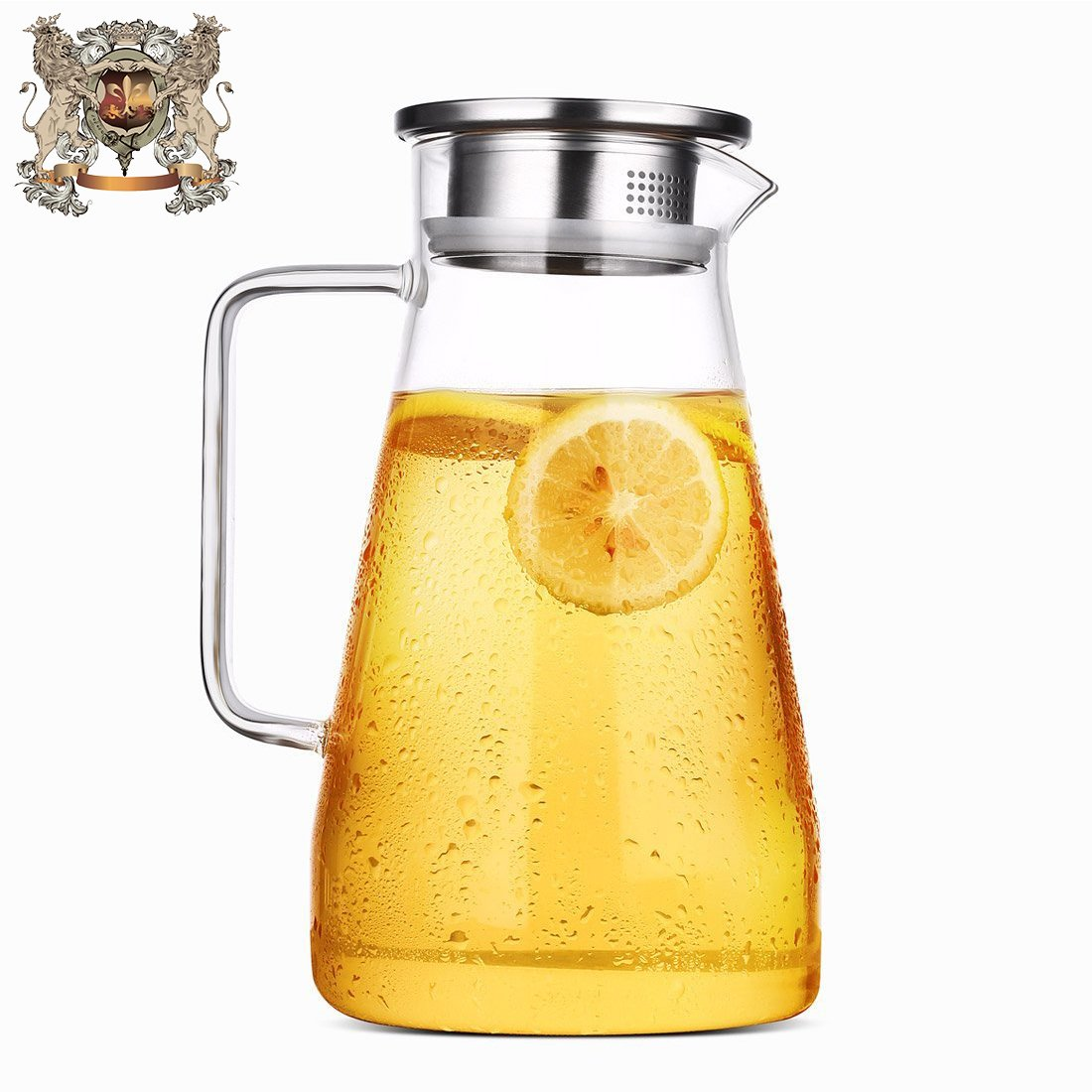 ONE DAY 1.5L / 1.8L Glass Water Carafe Pitcher with Stainless Steel Lid, Hot and Cold Water Jar/Carafe for Water,ice tea Juice container,fridge pitcher with handle (1800ML)