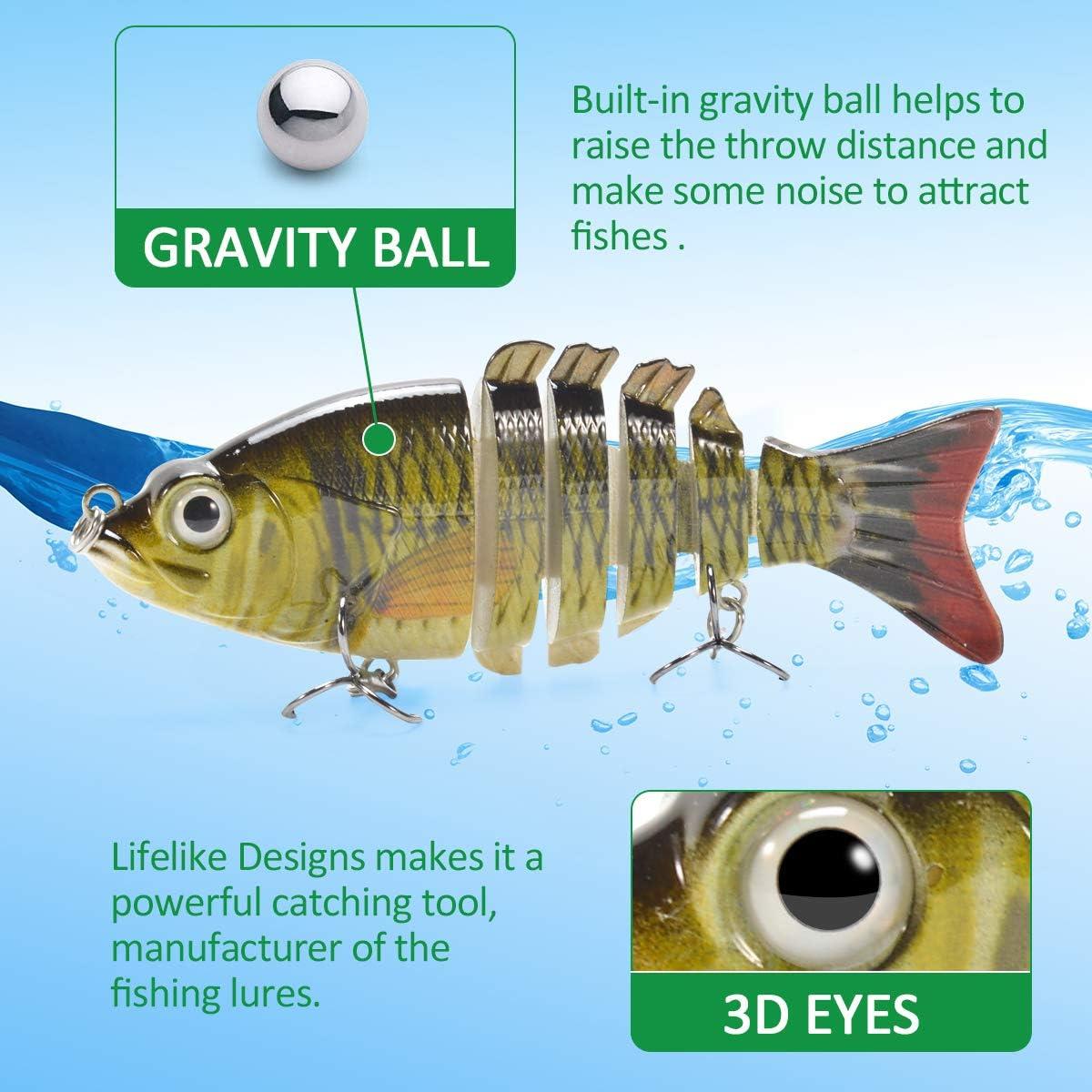 Supertrip 2pcs//4pcs Wobbler Kunstk/öder 6-Segement 3D Lifelike K/öder f/ür Hecht Barsch Zander eingebauter schwerkraftball lockt Fische an