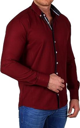 Ombre - Camisa Casual - con Botones - Manga Larga - para Hombre Rojo Burdeos Small: Amazon.es: Ropa y accesorios