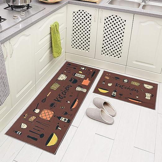 Juego de alfombras Runner tapete de goma antideslizante para cocina