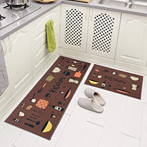 "Carvapet 2 Piece Non-Slip Kitchen Rug TPR Anti-Slip Backing Mat for Doorway Bathroom Runner Rug Set, Brown Kitchen Design (17""x48""+17""x24"")"