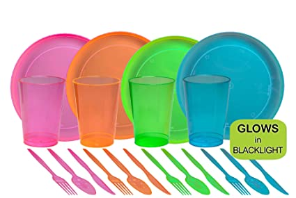 Tiger Chef 40-Piece Neon Assorted Party Supplies Includes Neon Assorted Colors Hard Plastic Plates  sc 1 st  Amazon.com & Amazon.com: Tiger Chef 40-Piece Neon Assorted Party Supplies ...