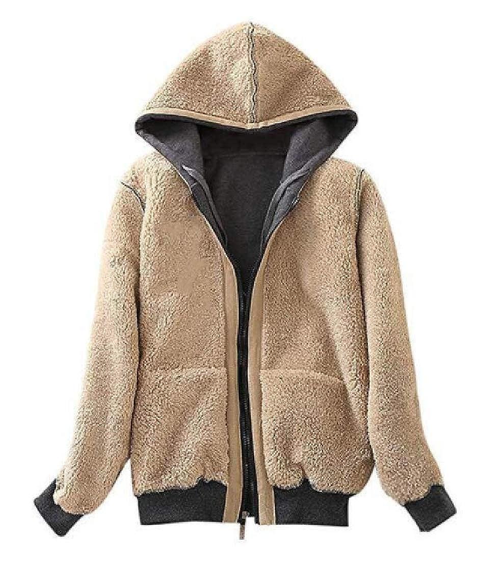 SELX Women Zip-Up Outwear Hooded Fleece Linen Warm Sweatshirt Jacket