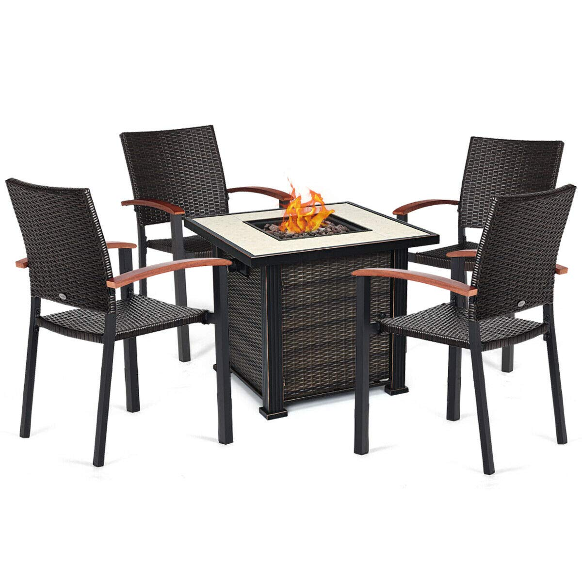 Tangkula 50,000 BTUs Square Propane Gas Fire Pit Table Set, 5 PCS Heater Outdoor Table with 4 Rattan Chairs by Tangkula