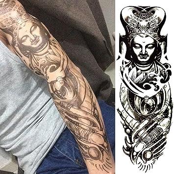 Amazon.com : TAFLY Black Temporary Tattoo Chinese Temple Cassock ...